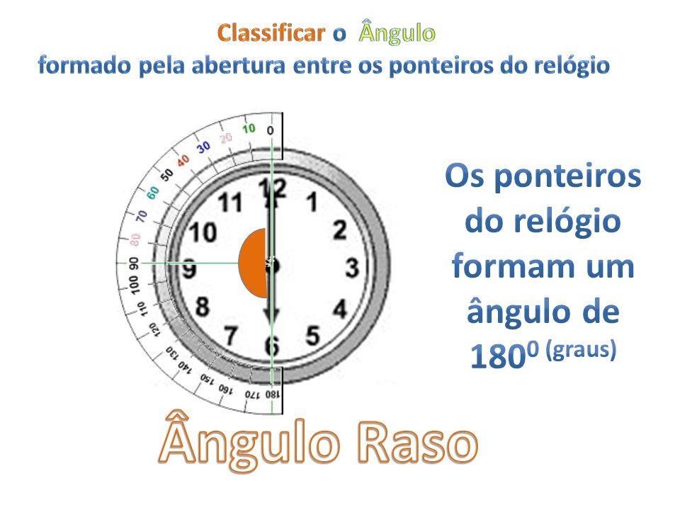 Ângulo Raso Os ponteiros do relógio formam um ângulo de 1800 (graus)