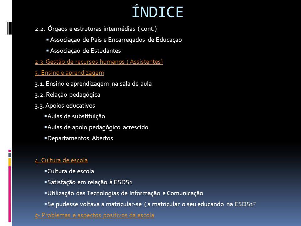 ÍNDICE 2.2. Órgãos e estruturas intermédias ( cont.)