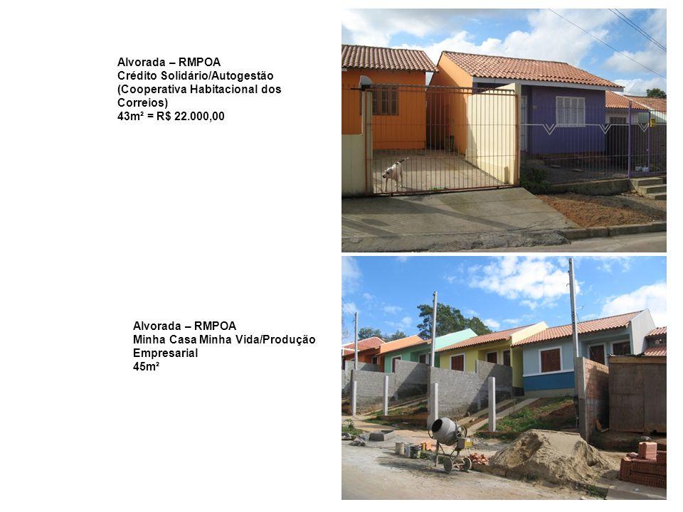 Alvorada – RMPOA Crédito Solidário/Autogestão. (Cooperativa Habitacional dos Correios) 43m² = R$ 22.000,00.