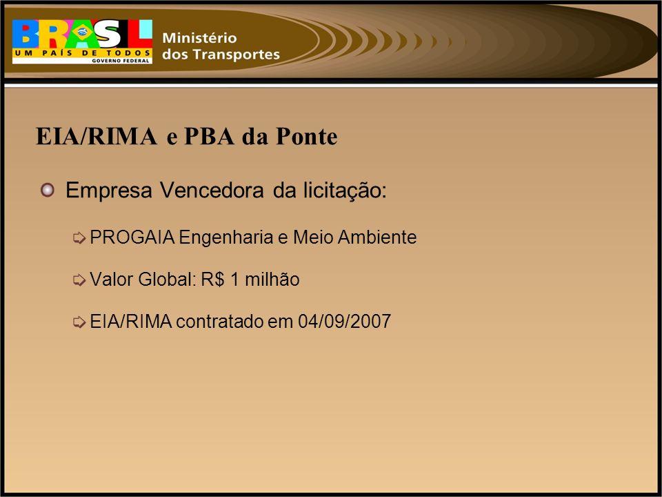 EIA/RIMA e PBA da Ponte Empresa Vencedora da licitação: