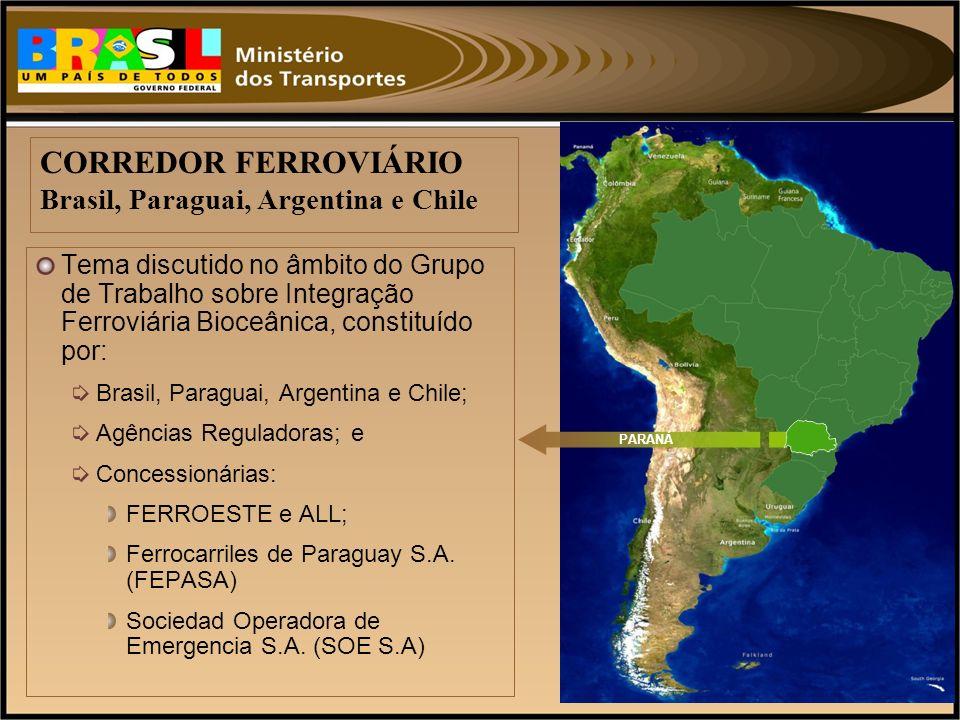 CORREDOR FERROVIÁRIO Brasil, Paraguai, Argentina e Chile