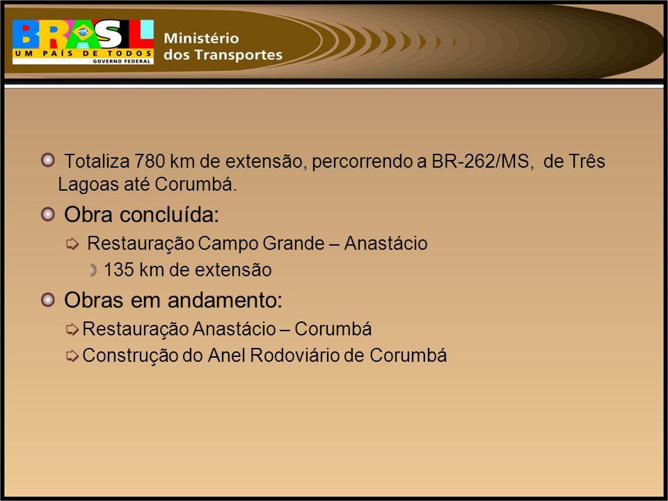 Totaliza 780 km de extensão, percorrendo a BR-262/MS, de Três Lagoas até Corumbá.