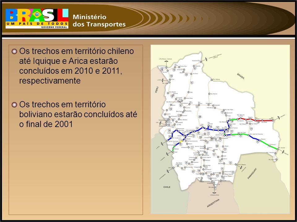Os trechos em território chileno até Iquique e Arica estarão concluídos em 2010 e 2011, respectivamente
