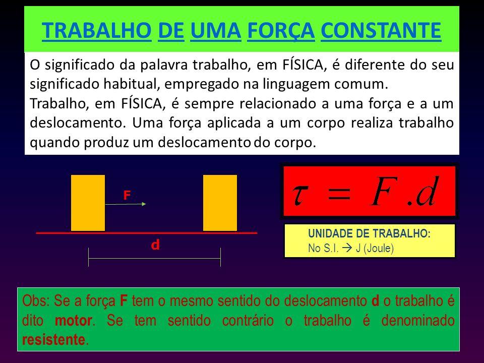TRABALHO DE UMA FORÇA CONSTANTE