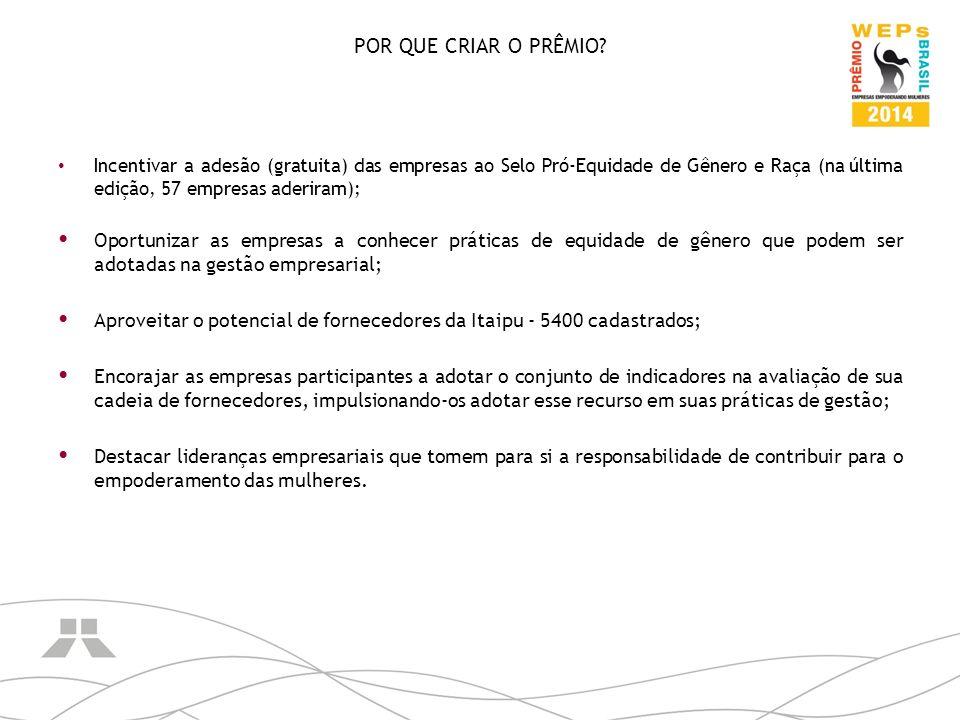 POR QUE CRIAR O PRÊMIO Incentivar a adesão (gratuita) das empresas ao Selo Pró-Equidade de Gênero e Raça (na última edição, 57 empresas aderiram);