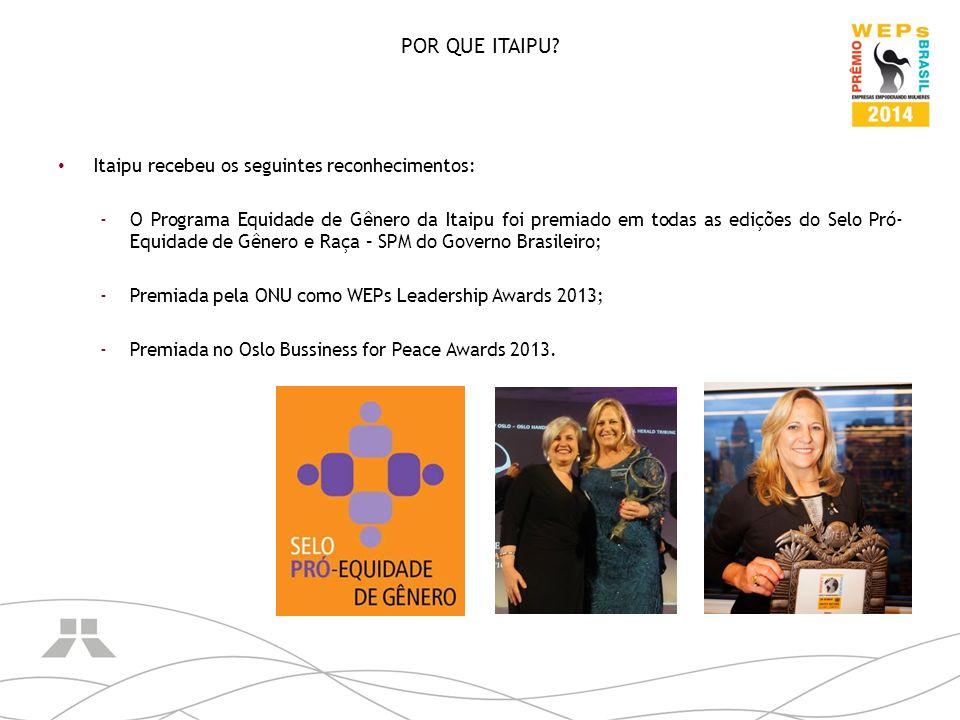POR QUE ITAIPU Itaipu recebeu os seguintes reconhecimentos: