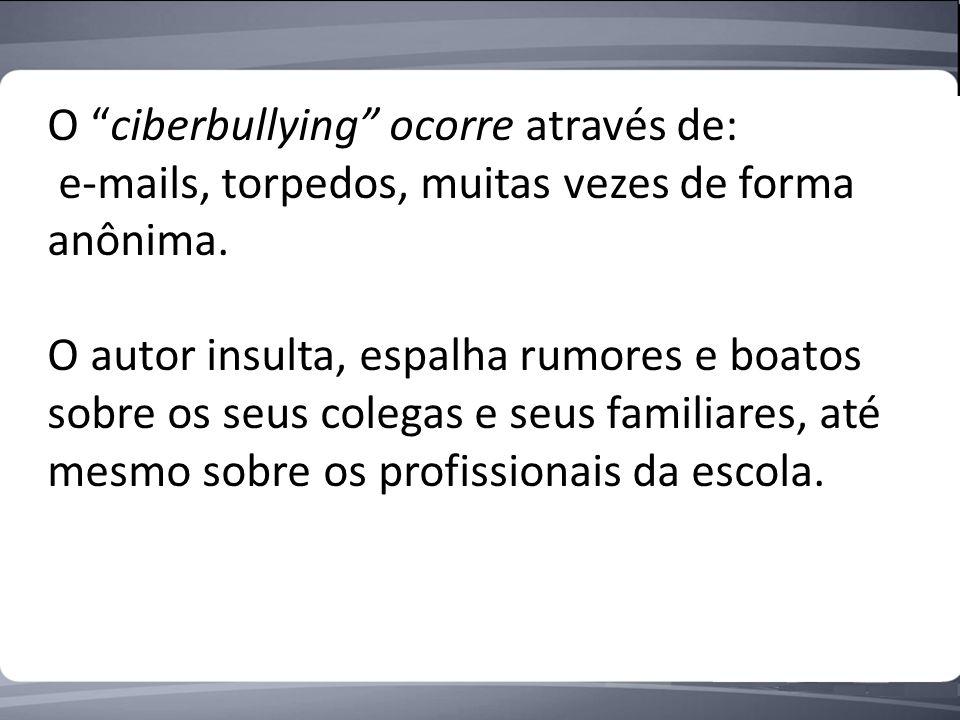 O ciberbullying ocorre através de: