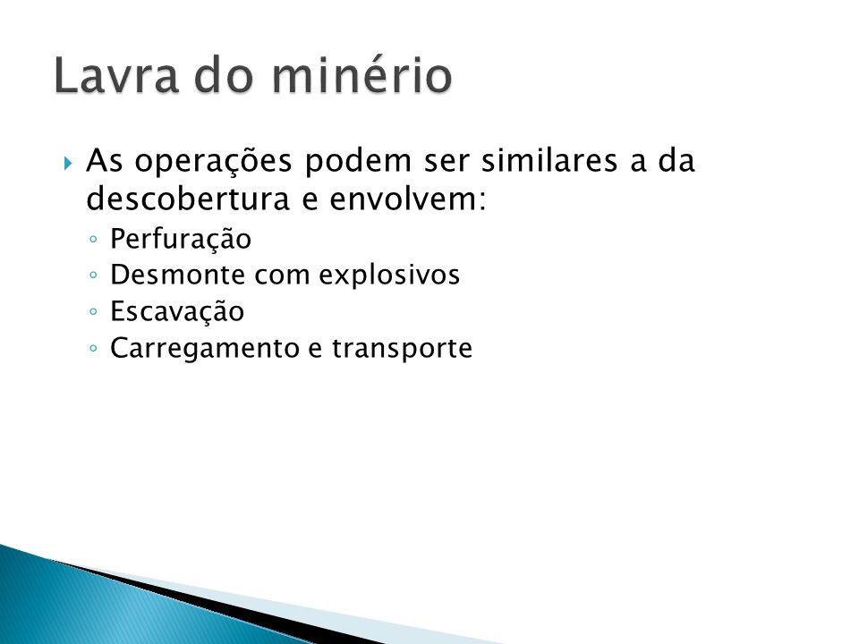 Lavra do minério As operações podem ser similares a da descobertura e envolvem: Perfuração. Desmonte com explosivos.