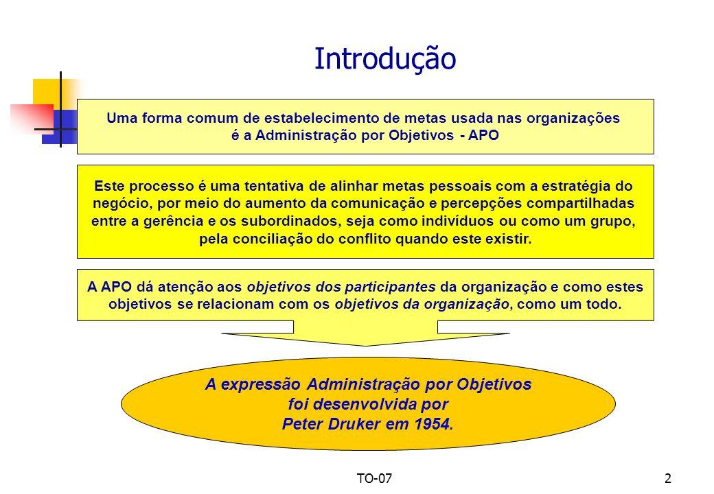 Introdução A expressão Administração por Objetivos