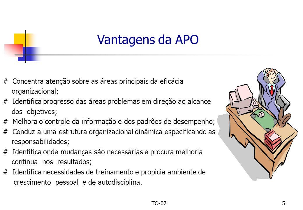 UPM - CCSA TO-07 – Administração por Objetivos. Vantagens da APO. # Concentra atenção sobre as áreas principais da eficácia.