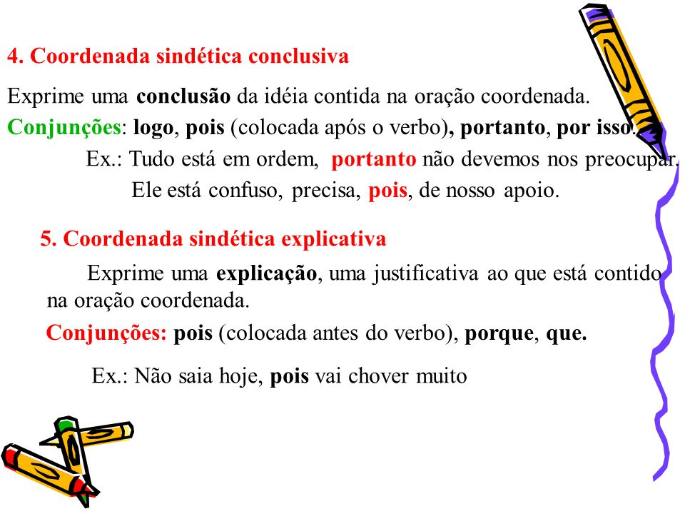 4. Coordenada sindética conclusiva