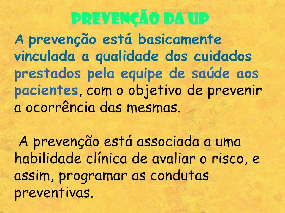 PREVENÇÃO DA UP A prevenção está basicamente vinculada a qualidade dos cuidados.