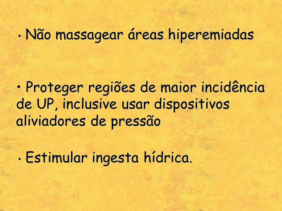 Não massagear áreas hiperemiadas