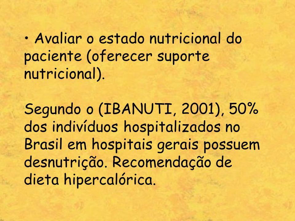 • Avaliar o estado nutricional do paciente (oferecer suporte nutricional).