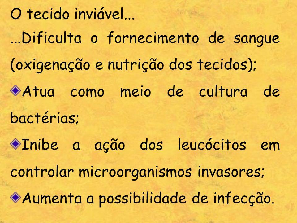 O tecido inviável... ...Dificulta o fornecimento de sangue (oxigenação e nutrição dos tecidos); Atua como meio de cultura de bactérias;
