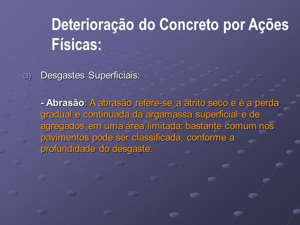 Físicas: Deterioração do Concreto por Ações Desgastes Superficiais: