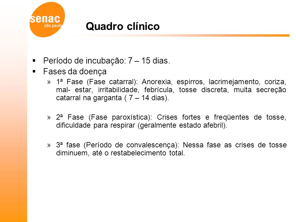 Quadro clínico Período de incubação: 7 – 15 dias. Fases da doença