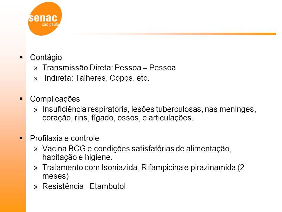 Contágio Transmissão Direta: Pessoa – Pessoa. Indireta: Talheres, Copos, etc. Complicações.