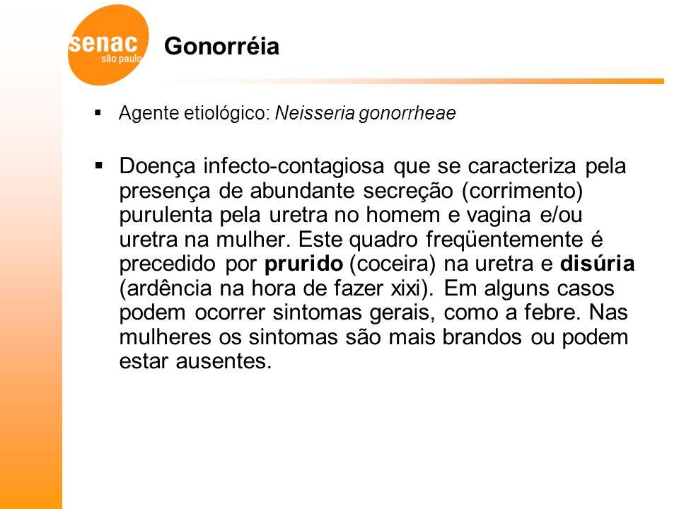 Gonorréia Agente etiológico: Neisseria gonorrheae.