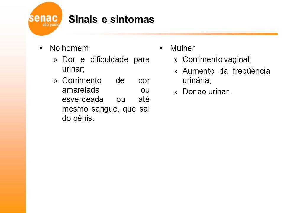 Sinais e sintomas No homem Dor e dificuldade para urinar;