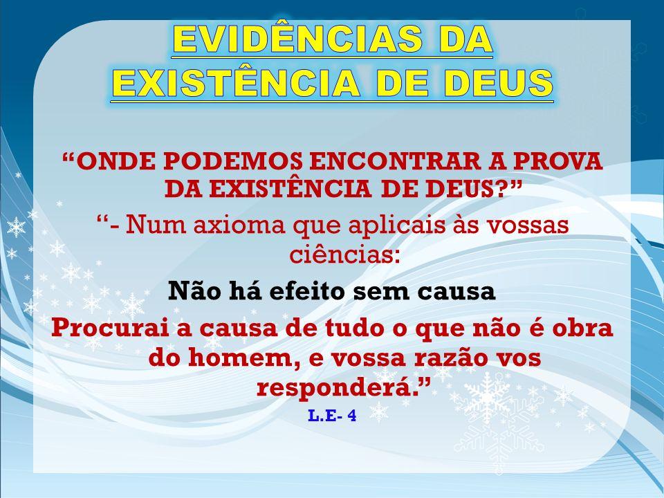 EVIDÊNCIAS DA EXISTÊNCIA DE DEUS