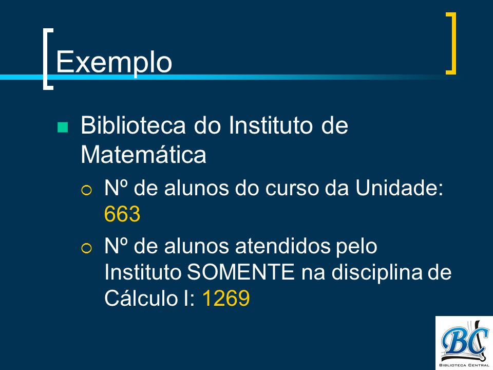 Exemplo Biblioteca do Instituto de Matemática