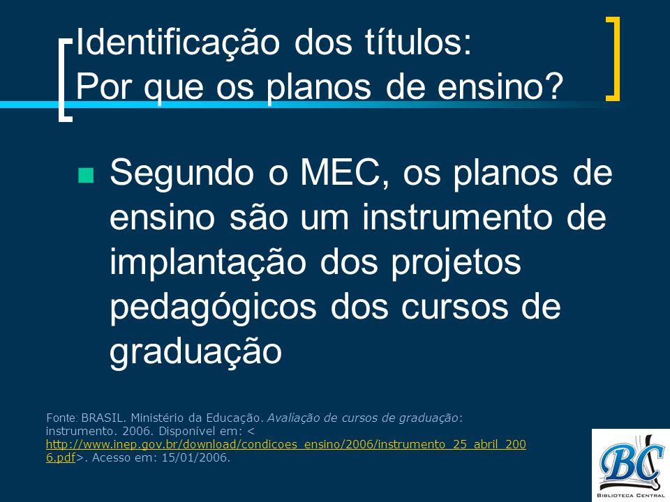 Identificação dos títulos: Por que os planos de ensino
