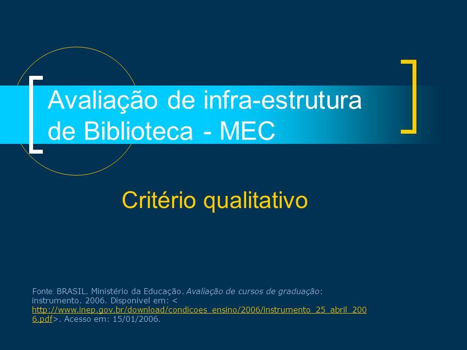 Avaliação de infra-estrutura de Biblioteca - MEC