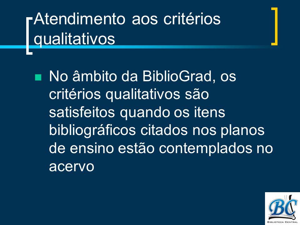 Atendimento aos critérios qualitativos