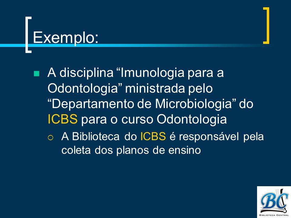 Exemplo: A disciplina Imunologia para a Odontologia ministrada pelo Departamento de Microbiologia do ICBS para o curso Odontologia.