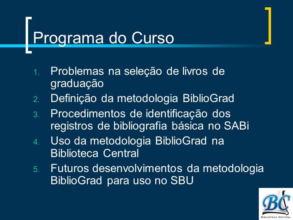 Programa do Curso Problemas na seleção de livros de graduação
