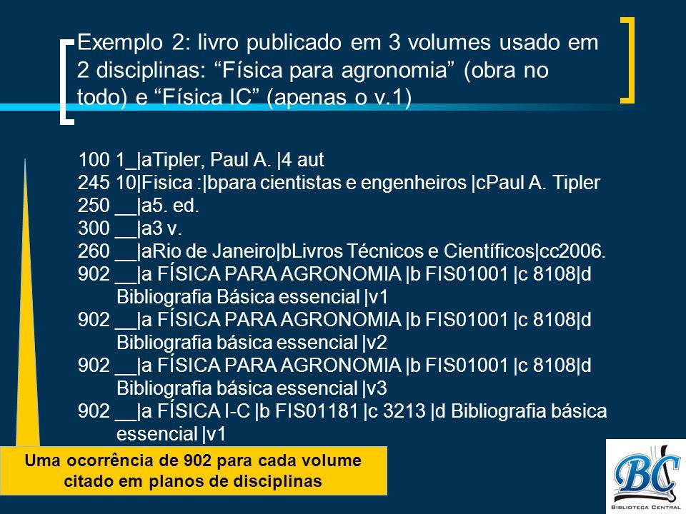 Uma ocorrência de 902 para cada volume citado em planos de disciplinas