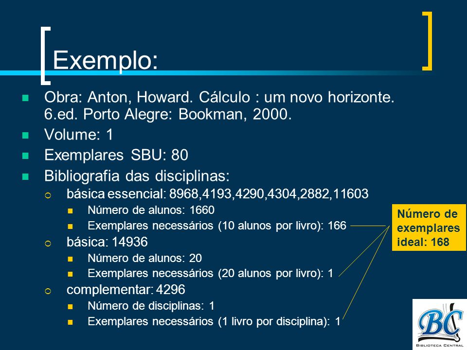 Exemplo: Obra: Anton, Howard. Cálculo : um novo horizonte. 6.ed. Porto Alegre: Bookman, 2000. Volume: 1.