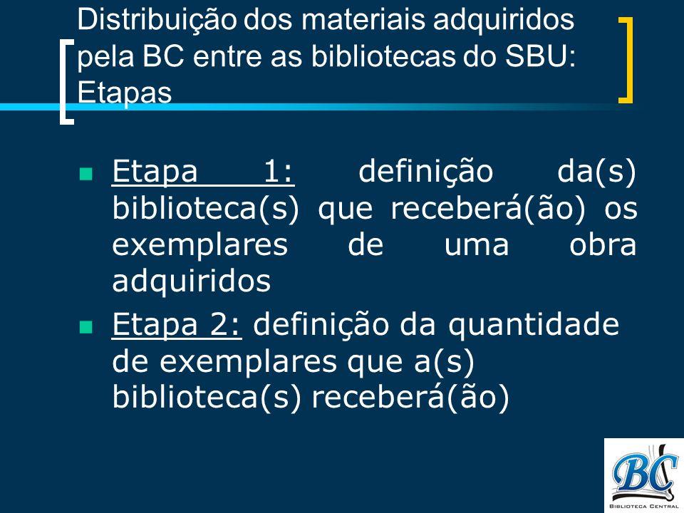 Distribuição dos materiais adquiridos pela BC entre as bibliotecas do SBU: Etapas