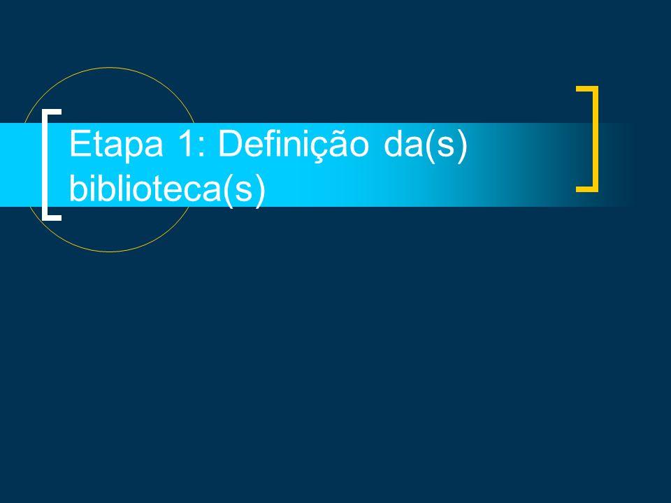 Etapa 1: Definição da(s) biblioteca(s)