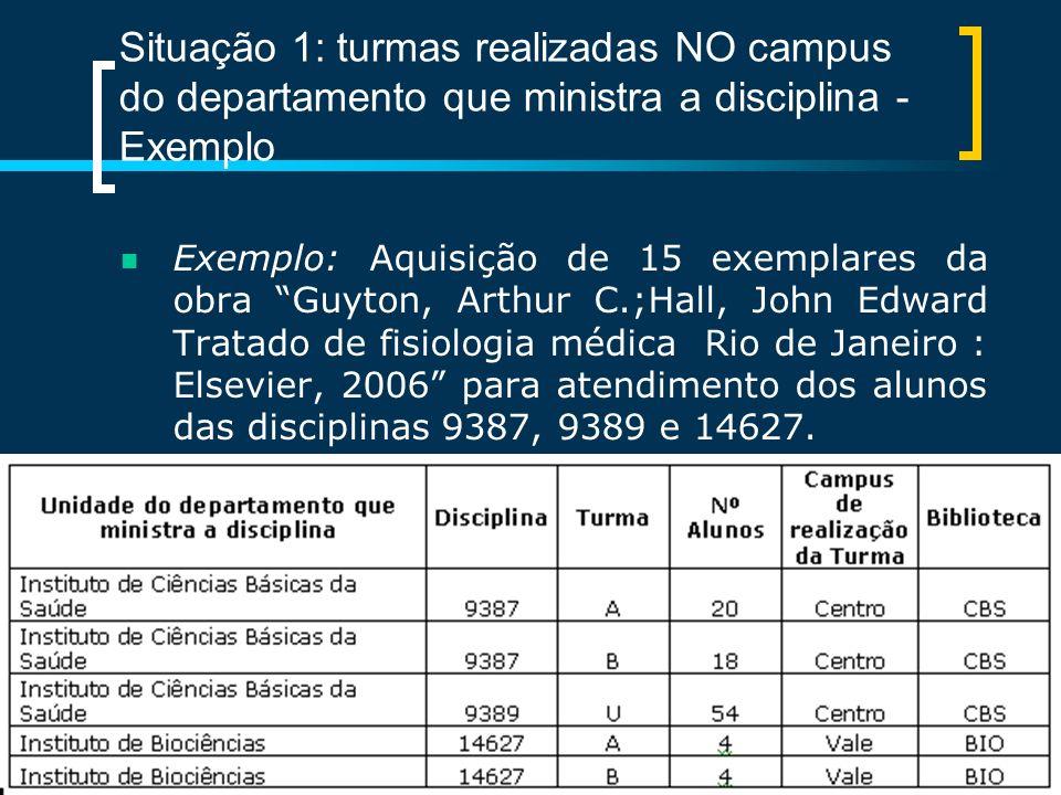 Situação 1: turmas realizadas NO campus do departamento que ministra a disciplina - Exemplo