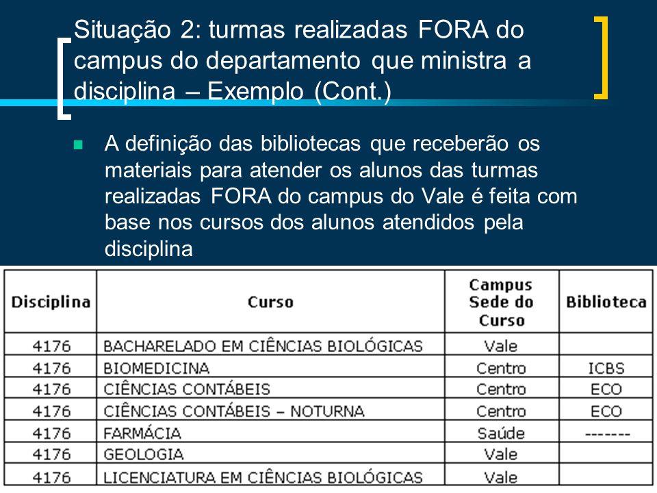 Situação 2: turmas realizadas FORA do campus do departamento que ministra a disciplina – Exemplo (Cont.)