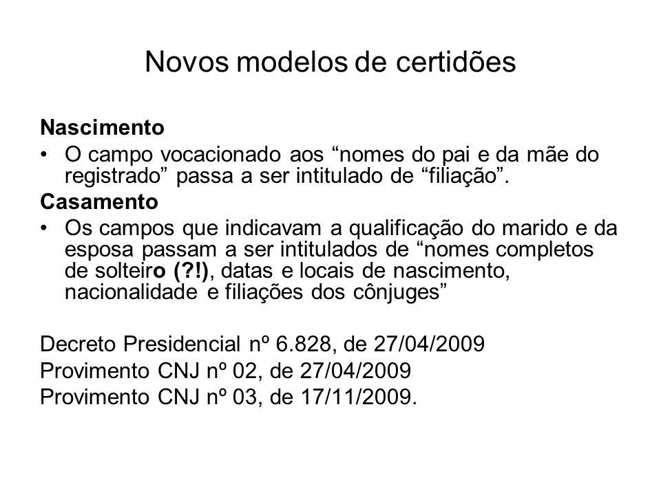 Novos modelos de certidões