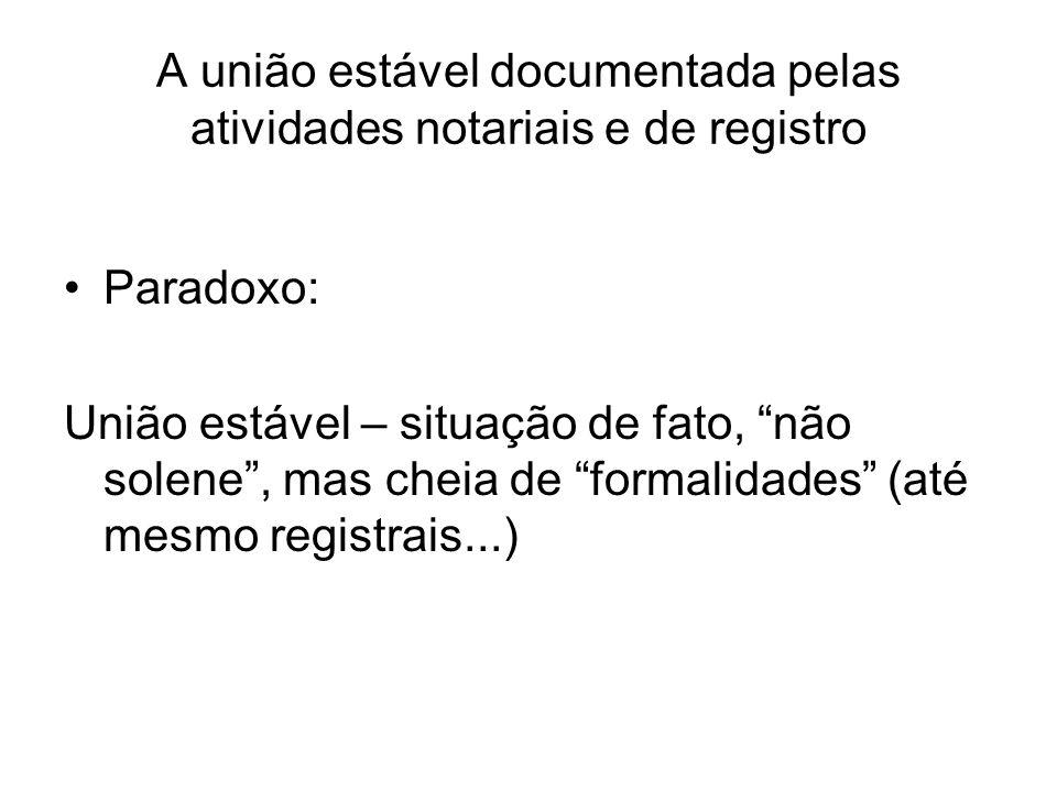 A união estável documentada pelas atividades notariais e de registro