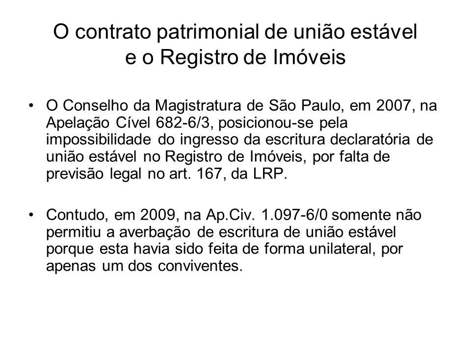 O contrato patrimonial de união estável e o Registro de Imóveis