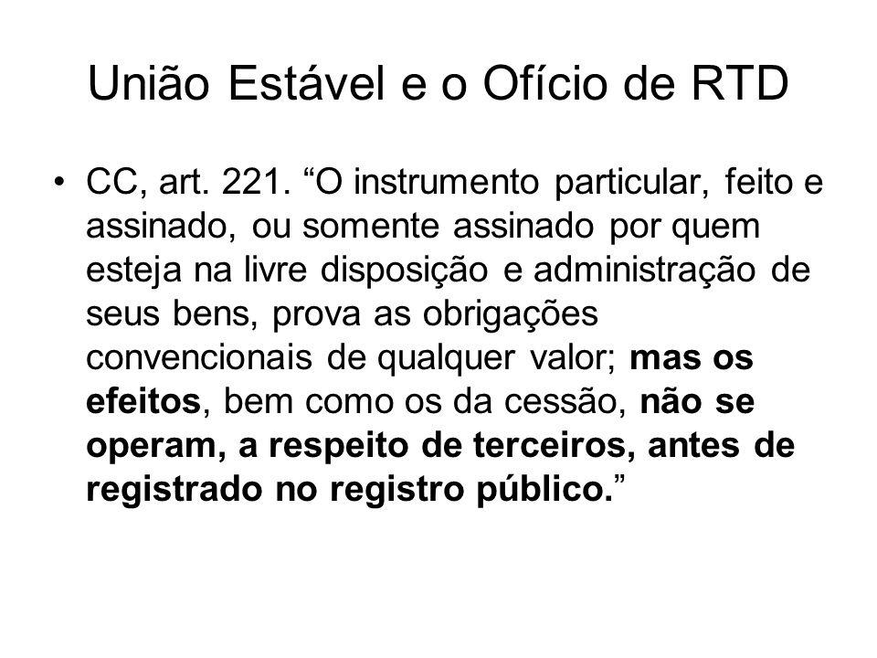 União Estável e o Ofício de RTD