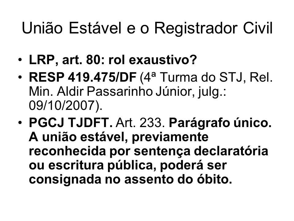 União Estável e o Registrador Civil