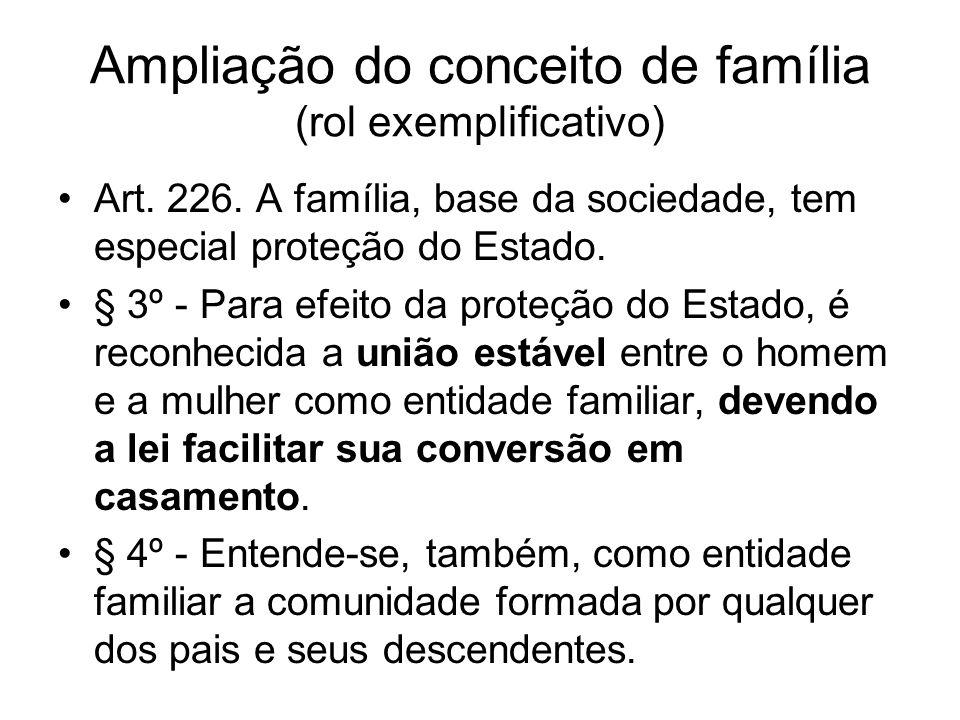 Ampliação do conceito de família (rol exemplificativo)