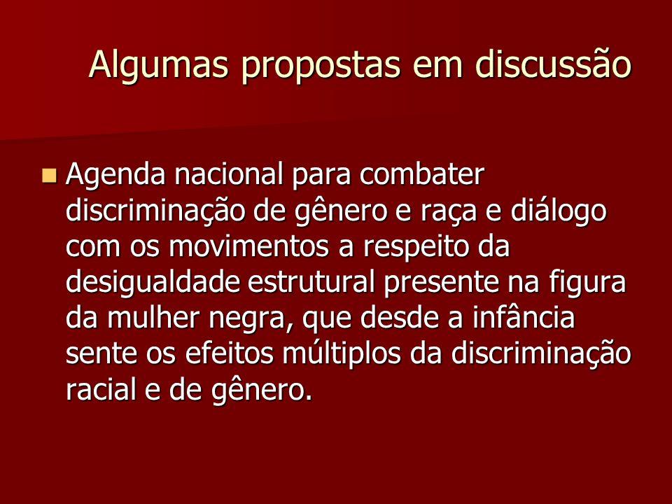 Algumas propostas em discussão