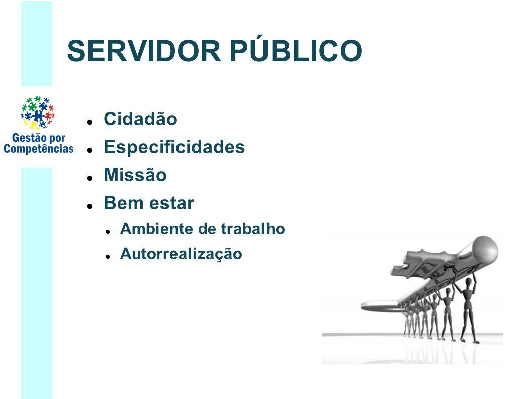 SERVIDOR PÚBLICO Cidadão Especificidades Missão Bem estar