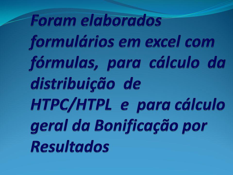 Foram elaborados formulários em excel com fórmulas, para cálculo da distribuição de HTPC/HTPL e para cálculo geral da Bonificação por Resultados