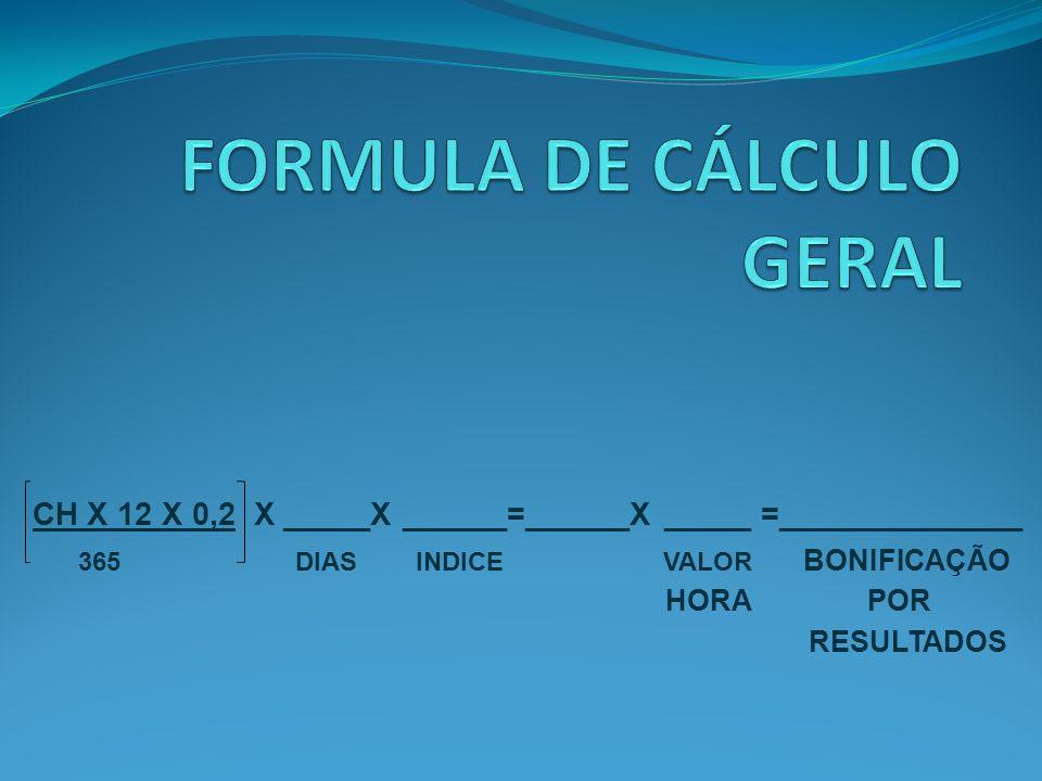 FORMULA DE CÁLCULO GERAL