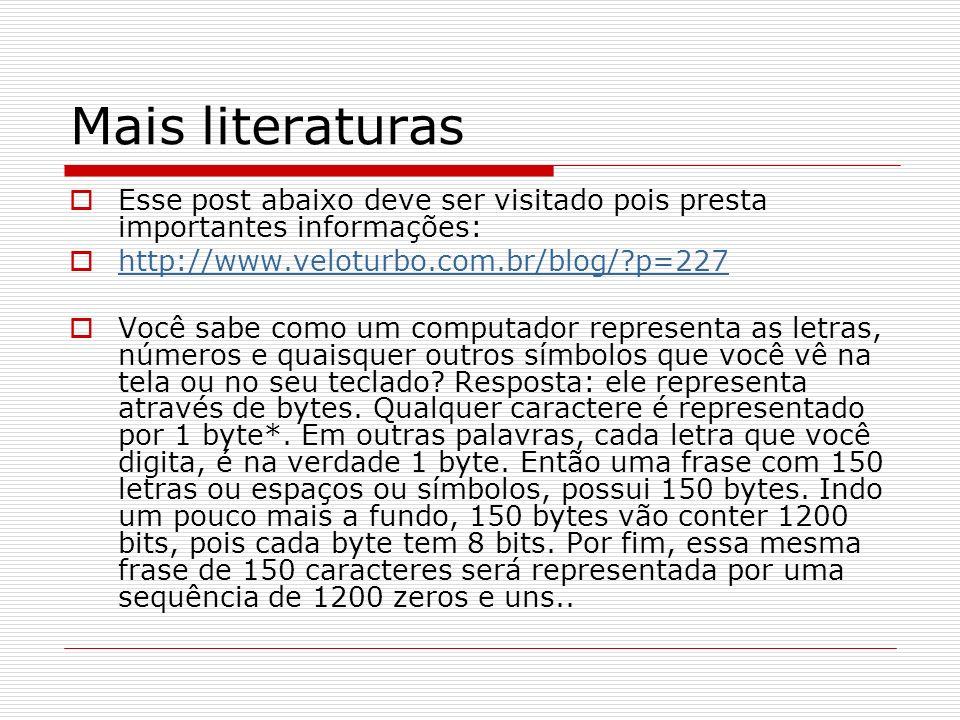 Mais literaturas Esse post abaixo deve ser visitado pois presta importantes informações: http://www.veloturbo.com.br/blog/ p=227.