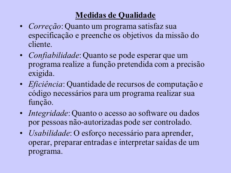 Medidas de Qualidade Correção: Quanto um programa satisfaz sua especificação e preenche os objetivos da missão do cliente.