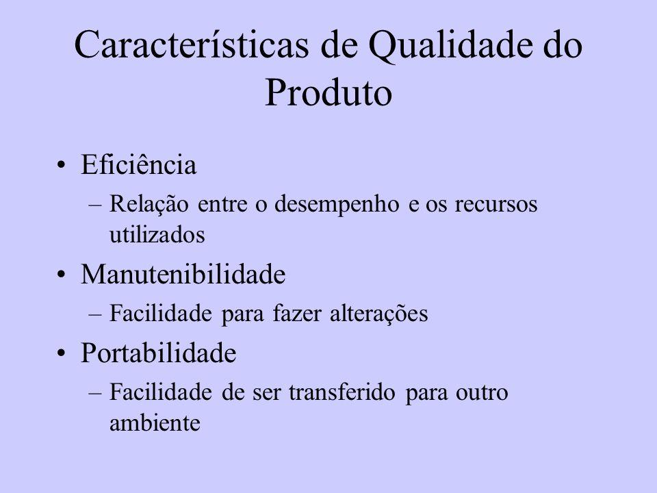 Características de Qualidade do Produto